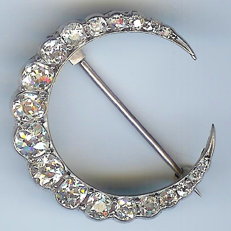 Stunning Old Diamond Crescent Brooch