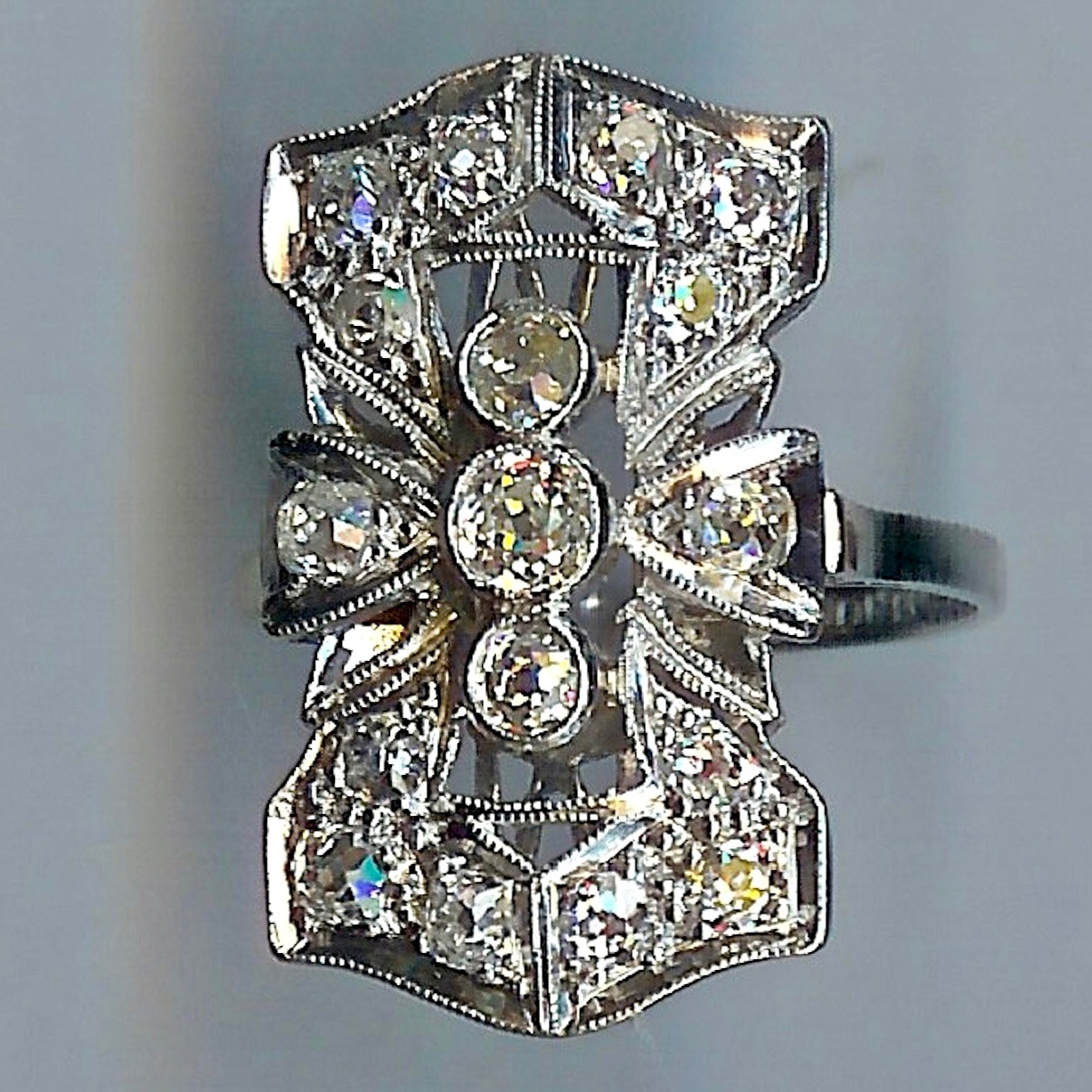 Delectable Art Deco Cluster Ring
