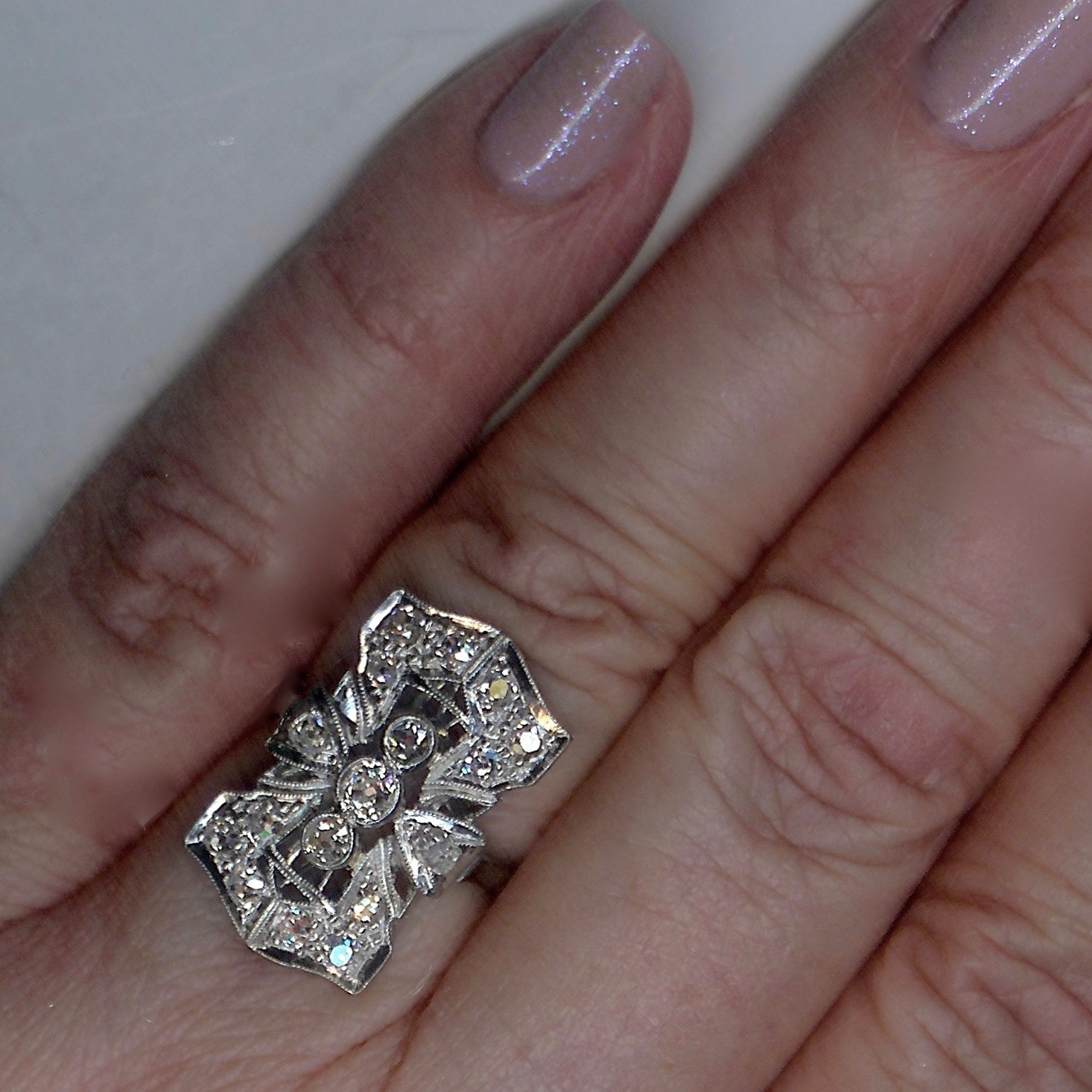 Delectable Art Deco Cluster Ring - Click Image to Close