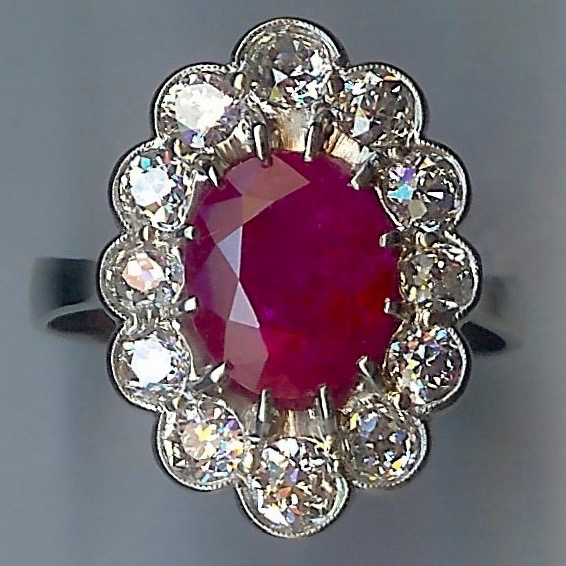 Head-turning Ruby & Diamond Cluster Ring