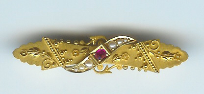 Charming Late Victorian Ruby & Pearl Bar Brooch