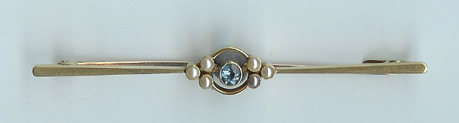 Super Old Blue Topaz and Pearl Brooch