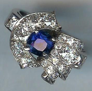 Really Wonderful Old Sapphire and Diamond 21-Stone Cluster Ring