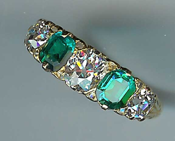 Very Rare Victorian Emerald and Diamond 5-Stone Ring