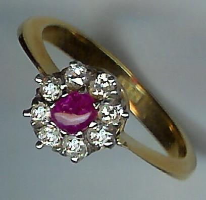Pretty Ruby and Old-Cut Diamond Cluster Ring