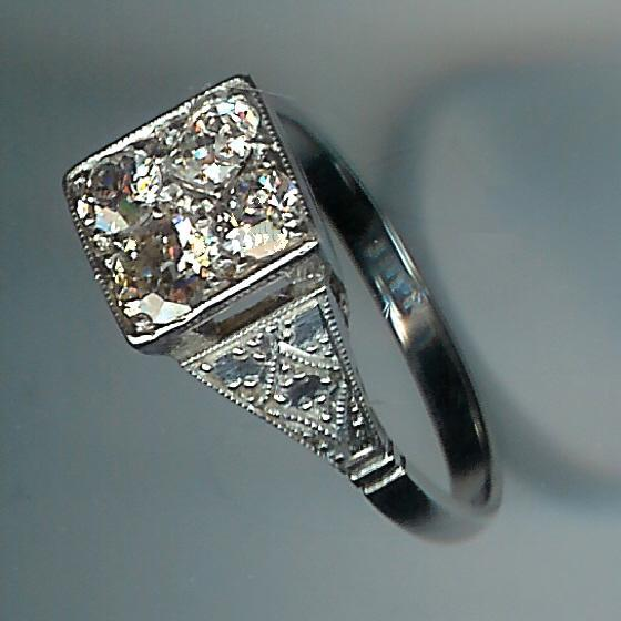 Unusual Art Deco Rose-Cut Diamond 4-Stone Cluster Ring
