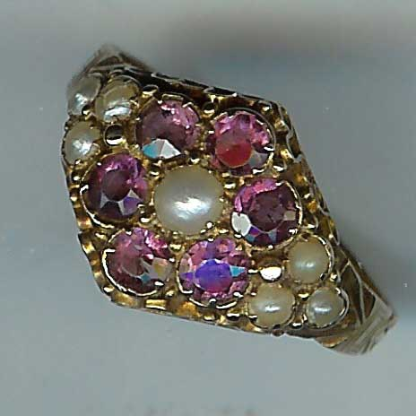 Beautiful Victorian Garnet and Pearl Cluster Ring