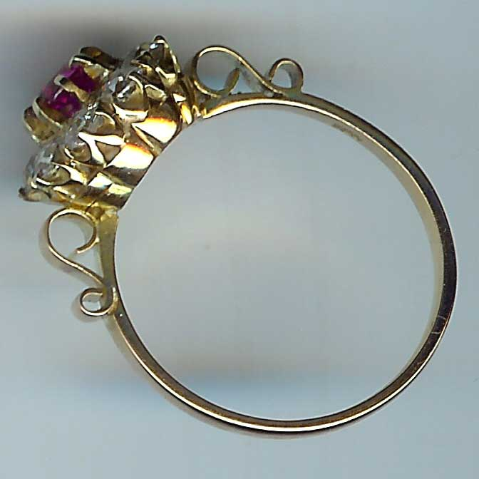 Wonderful Old Ruby and Diamond 10-Stone Cluster Ring