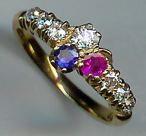 Wonderful 1920's 9-Stone Ruby Sapphire and Diamond Ring