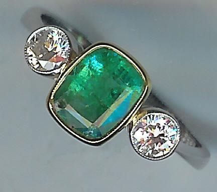 Very Attractive 3-Stone Emerald and Diamond Ring