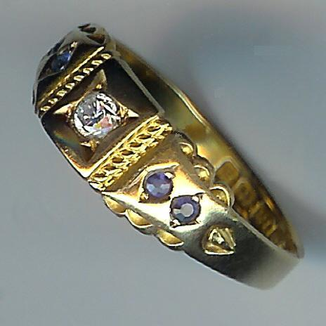Super Old Sapphire and Diamond 5-Stone Ring