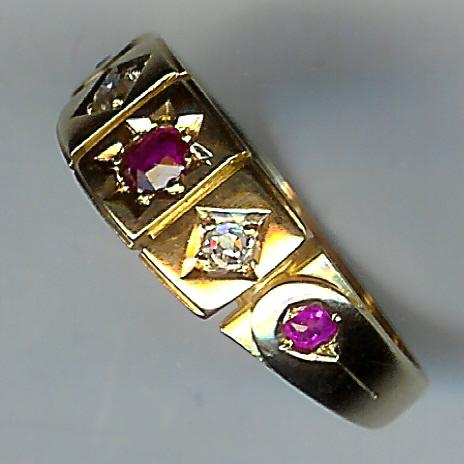 Exquisite Old Ruby and Diamond 5-Stone Ring