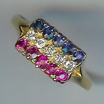 Wonderful Old Diamond, Sapphire and Ruby 15-Stone Ring