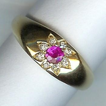 Wonderful Edwardian Ruby and Diamond 9-Stone Ring c.1908