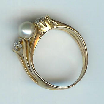 Enchanting 1920's 3-Stone Pearl and Diamond Ring