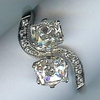 Wonderful 2-Stone Rose-Cut Diamond Twist Ring, Approx 2.11cts