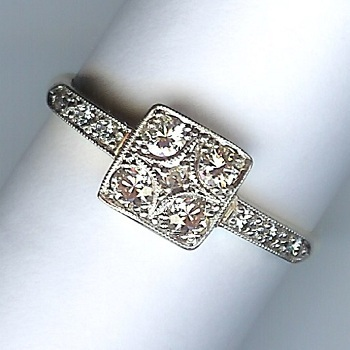 Lovely Art Deco Rose-Cut Diamond 11-Stone Cluster Ring