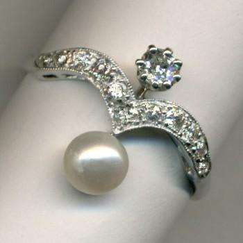 Unusual Pearl and Diamond 13-Stone Ring