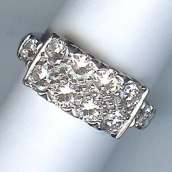 Fantastic 1950's 10-Stone Diamond Ring