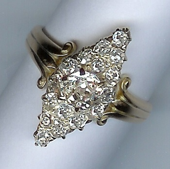 Stunning Victorian Rose-Cut Diamond 17-Stone Cluster Ring