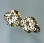 Stunning Platinum Art Deco 2 Stone Diamond Ring