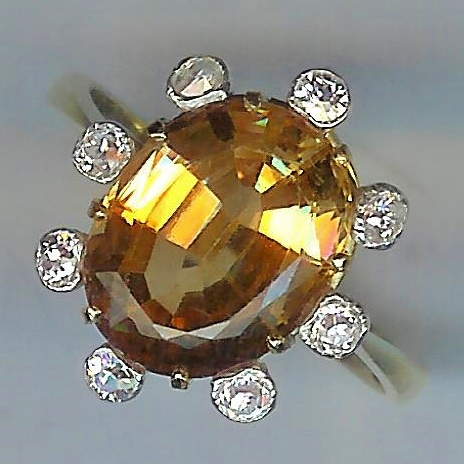Thrilling Sherry Topaz and Diamond Vintage Ring