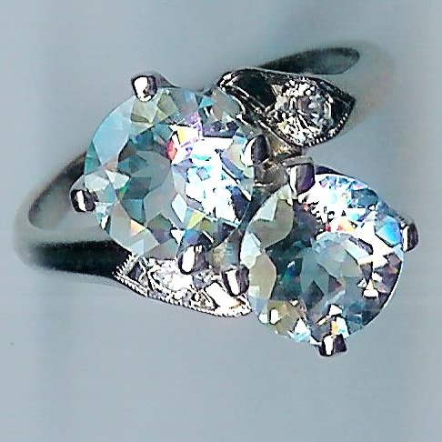 Very Special 2-Stone Aquamarine & Diamond Ring