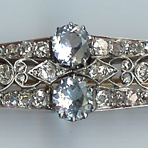 Sensational 1920's Aquamarine and Diamond Brooch
