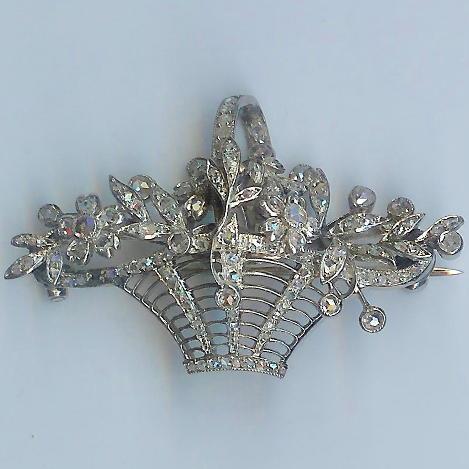 Irresistible Antique Diamond Flower Basket Brooch