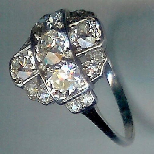 Sensational 1920s Multi Stone Rose Cut Diamond Cluster Ring