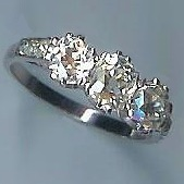 Stunning 3-Stone Rose-Cut Diamond Ring & Diamond-Set Shoulders