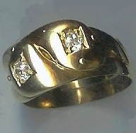 Quality Old Gent's Double Snake Diamond-Set Ring, 1885