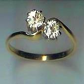 Simple 2-Stone Old-Cut Diamond Twist Ring