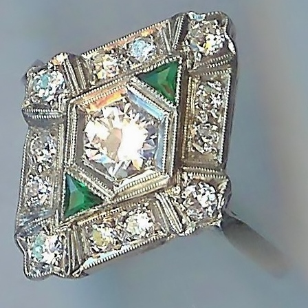 Delectable Diamond Cluster Ring with Accent Emeralds