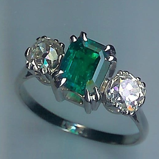 Exceptional Emerald & Diamond 3-Stone Ring