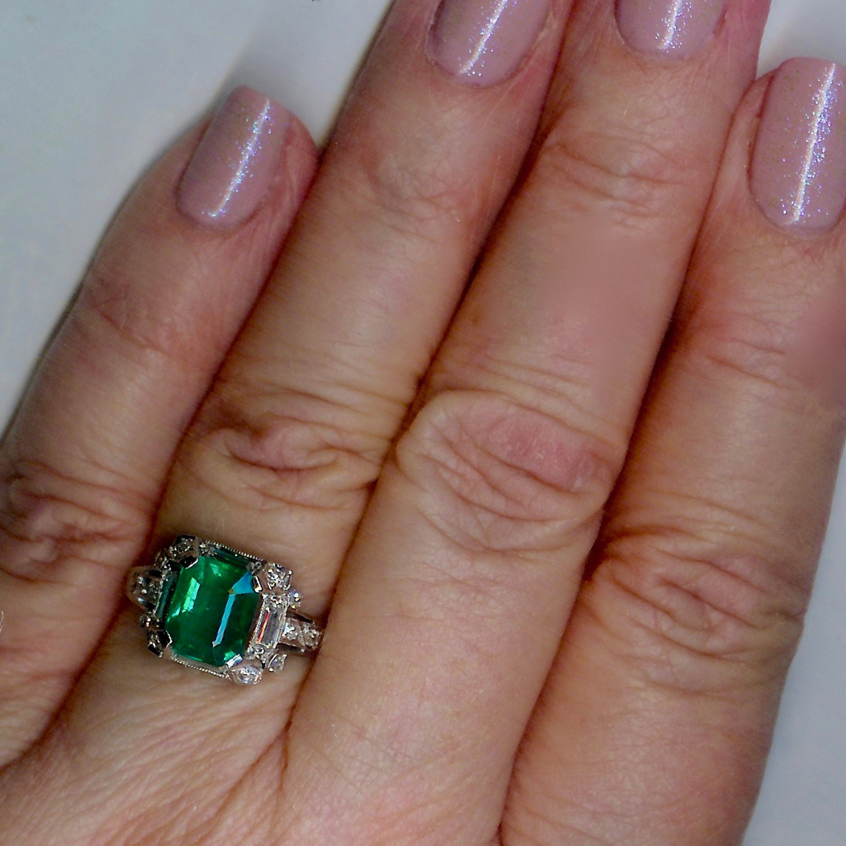 Truly Charming Emerald & Diamond Vintage Cluster Ring