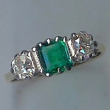 Colourful Emerald & Diamond 3 Stone Ring