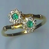 Gorgeous Double Emerald & Diamond Flower Cluster Ring
