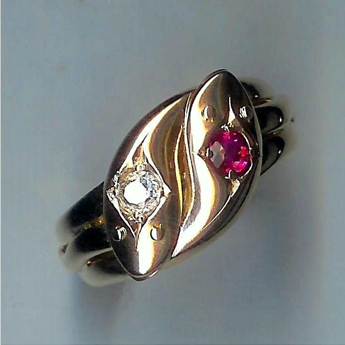 Fabulous Old Gent's Double Snake Ruby & Diamond Ring