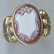 Victorian Engraved Banded Carnelian Gent's Signet Ring