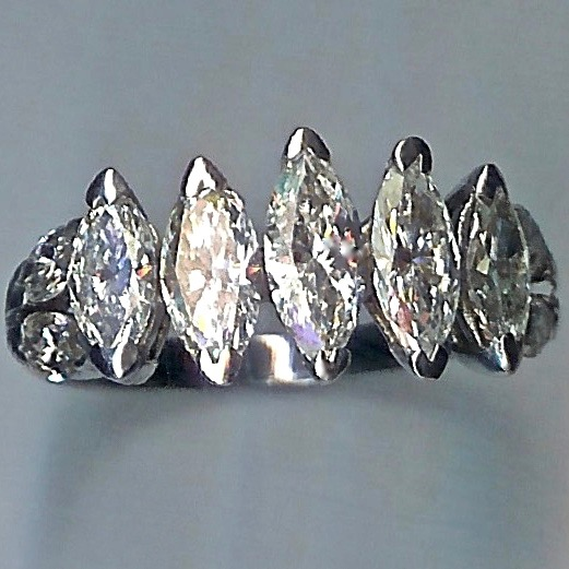 Spectacular 9-Stone Marquise-cut Diamond Ring