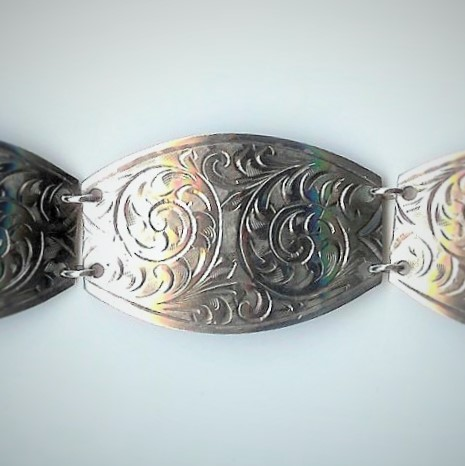 Fancy-Shaped Old Hand-Engraved Silver Bracelet