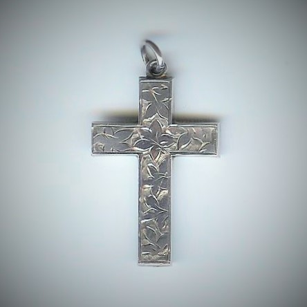 Attractive Engraved Old Silver Cross Pendant