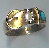 Charming Old Turquoise & Pearl Buckle Ring, 1890