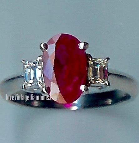 Evocative Ruby & Diamond 3-stone Ring