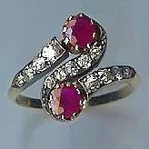 Charming Old 2-Stone Ruby & Diamond Shoulders Twist Ring
