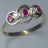 Art Deco Ruby & Diamond 5 Stone Ring