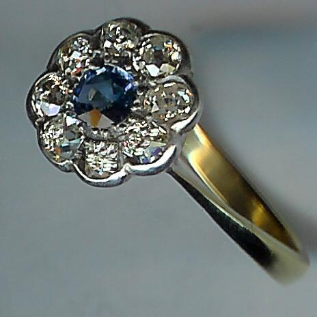 Lovely Old Sapphire and Diamond 9-Stone Cluster Ring