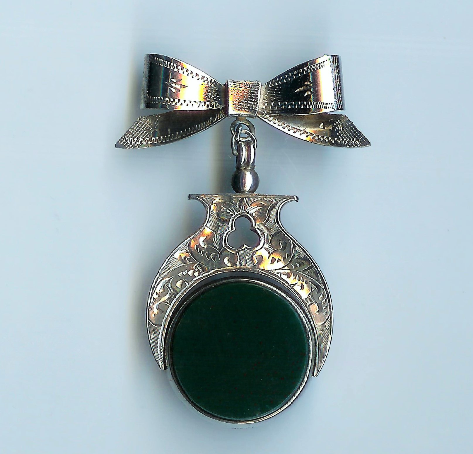 Old Silver & Agate Fob Bow Brooch