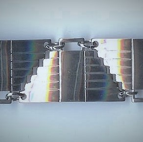 Unusual Art Deco 'Inverted Pyramid' Silver Bracelet